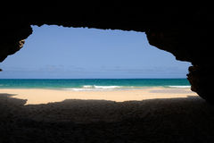 Cave in Varandinha Beach in Boa Vista, Cape Verde Royalty Free Stock Photos
