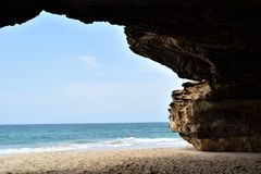Cave Beauty. Cave in Varandinha - Bracona beach in Boa Vista, Cape Verde royalty free stock images
