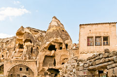 Cave Village Ruins Cappadocia Turkey. Ruins of a Turkish cave village dating back to the 5th and 6th centuries and inhabited until the 1960s when an earthquake Royalty Free Stock Photo