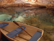 The Cave Voyage. The small boat is ready to take you on a magical tour inside Crystal and Fantasy caves, Bermuda stock photography