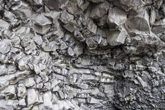Cave wall. Rock Wall in cave at black sand beach Royalty Free Stock Photo