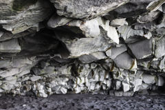 Cave Wall. Rock Wall in cave at black sand beach Stock Images