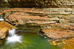 Cave waterfall at Watkins Glen state park Royalty Free Stock Photography