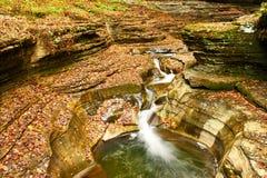 Cave waterfall at Watkins Glen state park Royalty Free Stock Photo