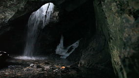 Cave Waterfall Winter and Wall stock video