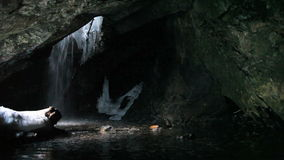 Cave Waterfall Winter stock video footage