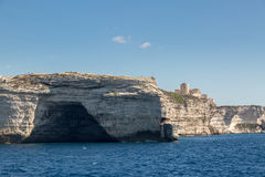 Cave in the white cliffs below Bonifacio in south Corsica Stock Photo