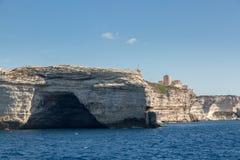 Cave in the white cliffs below Bonifacio in south Corsica Stock Photo