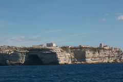 Cave in the white cliffs below Bonifacio in south Corsica Stock Images
