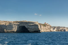Cave in the white cliffs below Bonifacio in south Corsica Royalty Free Stock Image