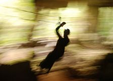 Cave Zip Line. The zip line adventure through Lost Mayan Caves in Belize stock images