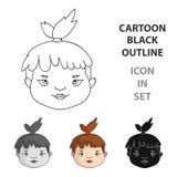 Cavechild font face à l'icône dans le style de bande dessinée d'isolement sur le fond blanc Illustration de vecteur d'actions de  Photos stock
