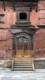 Caved balcony and gate of Hanuman Dhoka , the Royal palace , Durbar Square , Kathmandu , Nepal , 2014 stock image