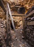 Caved in Mine Shaft Tunnel. Collapsed Mine Tunnel with debris and timbers Royalty Free Stock Photos