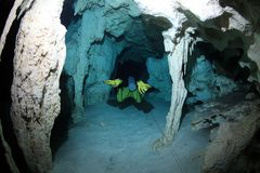 Cavediving in the cenote underwater cave Royalty Free Stock Photography