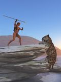 Cavegirl defende-se contra o tigre do sabretooth Imagem de Stock