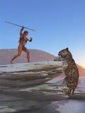 Cavegirl verdedigt zich tegen sabretoothtijger Stock Afbeelding