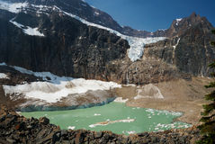 Cavell & Angel Glaciers & Cavell Pond in Jasper National Park stock photos