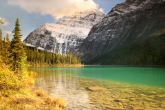 Cavell Lake Stock Image