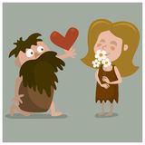 06cavelove. Cave man confesses his love. Cartoon illustration Stock Image