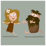 05cavelove. Lovers cave man and a woman running towards each other.Cartoon illustration Vector Illustration