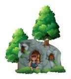 Caveman και μια σπηλιά Στοκ Εικόνες