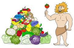 Caveman με την πυραμίδα τροφίμων paleo Στοκ Εικόνες