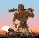Caveman με τη λέσχη Στοκ Εικόνες