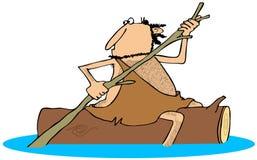 Caveman που καβαλικεύει ένα κούτσουρο Στοκ φωτογραφία με δικαίωμα ελεύθερης χρήσης