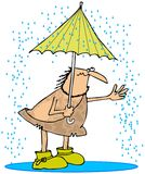 Caveman στη βροχή Στοκ Φωτογραφίες