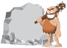 Caveman. Happy caveman with club on white background Royalty Free Stock Images