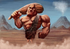 Caveman. Strong caveman with his club in a ancient background Royalty Free Stock Photos