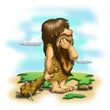 Caveman. Thinking (on colorful background Stock Photo