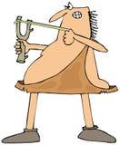 Caveman aiming a slingshot. This illustration depicts a caveman aiming a slingshot Royalty Free Stock Image