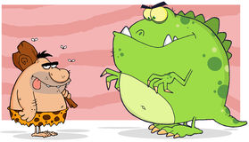 Caveman and angry dinosaur Stock Images