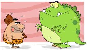 Caveman and angry dinosaur. Caveman and angry green dinosaur cartoon character Stock Images