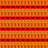 Caveman art seamless pattern. Stone age cave ornament hunting wild animals seamless pattern Stock Photo