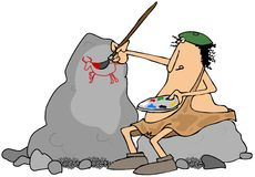 Caveman artist Stock Photography