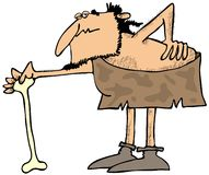 Caveman with a bad back. This illustration depicts a caveman stooped over with a bad back and using a large bone as a cane Royalty Free Stock Photo