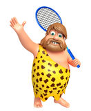 Caveman with Badminton. 3d rendered illustration of Caveman with Badminton Stock Photos