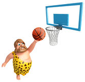 Caveman with Basket ball and Basket. 3d rendered illustration of Caveman with Basket ball and Basket Stock Photo