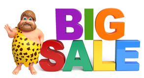 Caveman with Big sale sign. 3d rendered illustration of Caveman with Big sale sign Royalty Free Stock Photography