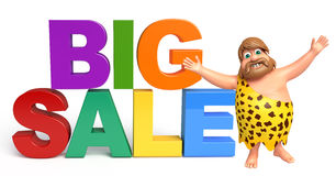 Caveman with Big sale sign. 3d rendered illustration of Caveman with Big sale sign Stock Photos
