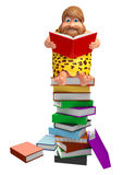 Caveman with Book stack. 3d rendered illustration of Caveman with Book stack Stock Photos