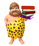 Caveman with Book stack. 3d rendered illustration of Caveman with Book stack Royalty Free Stock Image