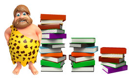 Caveman with Book stack. 3d rendered illustration of Caveman with Book stack Stock Photography