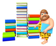Caveman with Book stack. 3d rendered illustration of Caveman with Book stack Stock Image