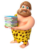 Caveman with Book stack. 3d rendered illustration of Caveman with Book stack Royalty Free Stock Photos