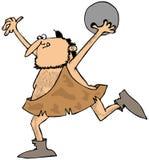 Caveman bowling. This illustration depicts a caveman throwing a bowling ball Stock Photos