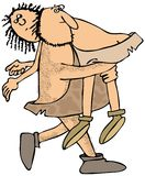 Caveman carrying a cavewoman Royalty Free Stock Image